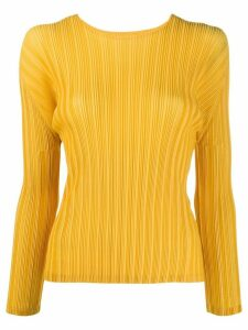 Pleats Please Issey Miyake long-sleeved pleated top - Yellow