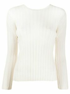 Pleats Please Issey Miyake long-sleeved pleated top - White