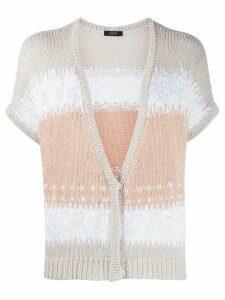 Peserico colour-block short sleeve cardigan - NEUTRALS