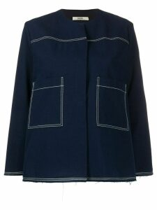 Odeeh stitching detail short jacket - Blue