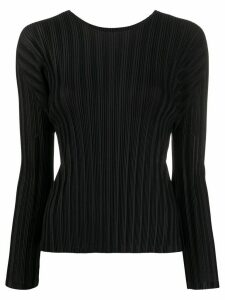Pleats Please Issey Miyake long-sleeved pleated top - Black