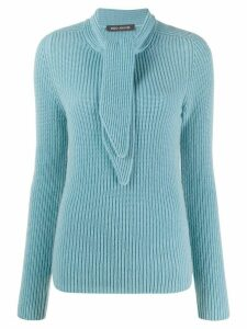 Iris Von Arnim tie neck cashmere jumper - Blue