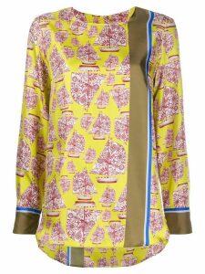 Odeeh silk boat print blouse - Yellow
