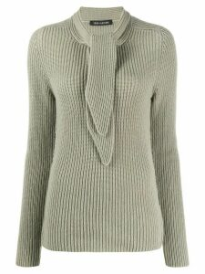 Iris Von Arnim tie neck cashmere jumper - Grey