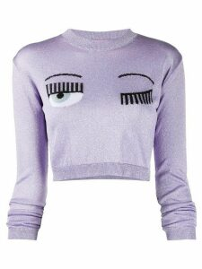 Chiara Ferragni signature wink crop top - PURPLE
