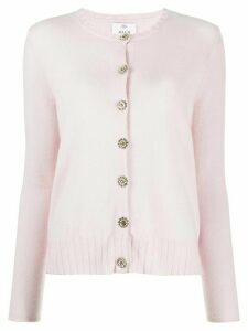Allude embellished button ribbed detail cardigan - PINK