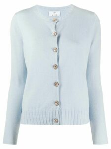 Allude embellished button ribbed detail cardigan - Blue