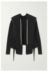 Rick Owens - Felpa Tie-detailed Cotton-jersey Hoodie - Black