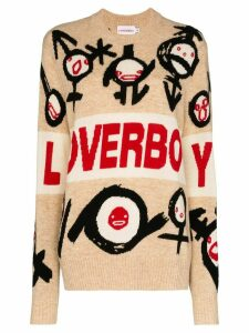 Charles Jeffrey Loverboy logo intarsia knit jumper - NEUTRALS