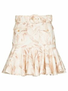 Zimmermann Safari print flared skirt - White