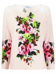 Blumarine fine knit floral print top - PINK