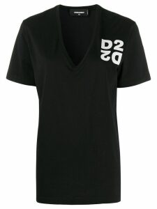 Dsquared2 D2 print V-neck T-shirt - Black
