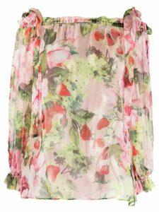 Blumarine floral print silk blouse - PINK
