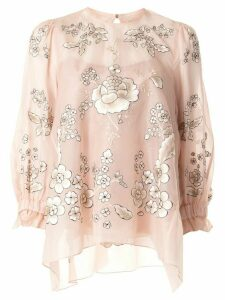 Biyan silk floral embroidered blouse - PINK