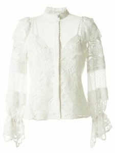 Alexis lace-insert ruffle blouse - White