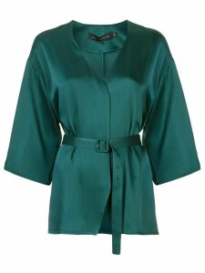 Sally Lapointe belted blouse - Green
