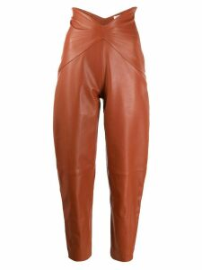 The Attico slim leather trousers - Brown