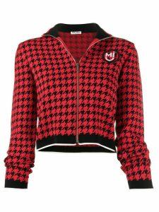 Miu Miu houndstooth zip front cardigan - Red