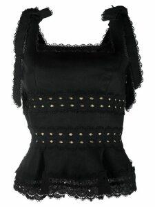 Zimmermann lace trim tie strap vest top - Black