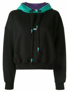 MSGM logo print cropped hoodie - Black