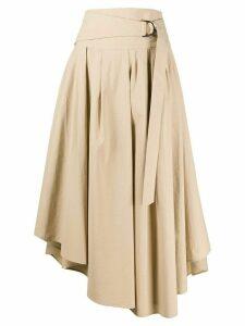 Brunello Cucinelli high waisted asymmetric hem skirt - NEUTRALS