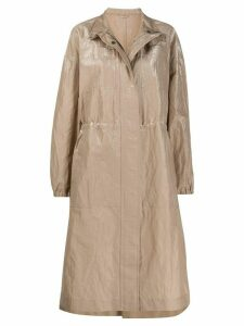 Brunello Cucinelli coated high-neck A-line parka - Brown