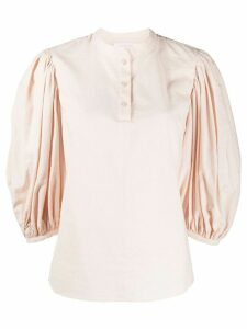 See by Chloé puff-sleeve mandarin collar blouse - PINK