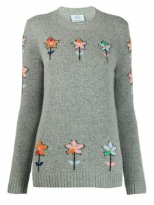 Prada flower intarsia jumper - Grey