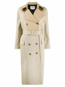 MSGM two-tone trench coat - NEUTRALS