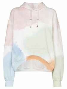 Collina Strada watercolour round hem hoodie - White