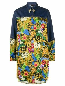 Versace Jeans Couture Western-tip tropical-print denim shirt - Blue