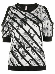 Antonio Marras striped floral jumper - White