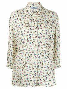 Prada floral belted shirt - NEUTRALS