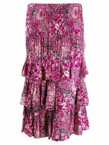 Isabel Marant Étoile paisley ruffle midi skirt - PINK