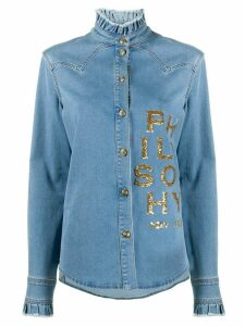 Philosophy Di Lorenzo Serafini sequin-logo ruffled denim shirt - Blue
