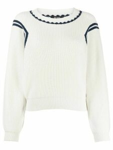 Twin-Set stripe detail ribbed jumper - White
