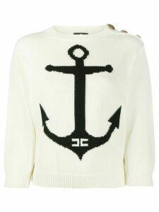 Elisabetta Franchi anchor intarsia jumper - White