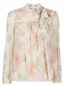 RedValentino floral pattern pussy bow blouse - PINK