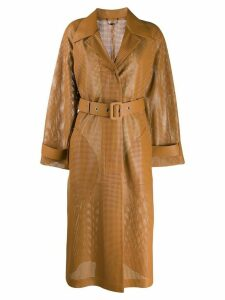 Fendi perforated mesh belted trench - Brown