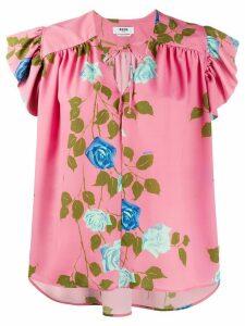 MSGM rose print tie-neck blouse - PINK