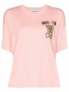 Moschino crystal teddy logo T-shirt - PINK