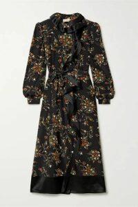 Tory Burch - Ruffled Satin-trimmed Floral-print Silk Crepe De Chine Wrap Dress - Black
