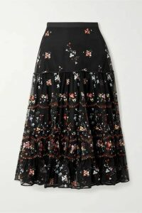 Tory Burch - Crepe-trimmed Embroidered Tulle Midi Skirt - Black
