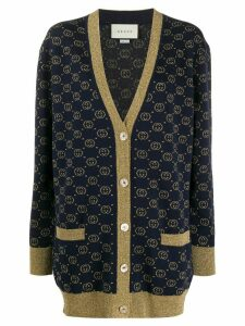 Gucci interlocking G lamé cardigan - Blue