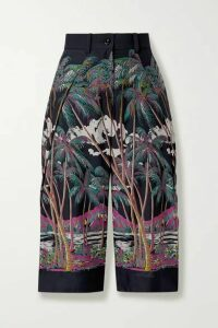 Sacai - Sun Surf Diamond Head Cropped Printed Satin Wide-leg Pants - Gray