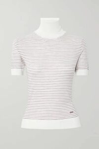 Prada - Embroidered Striped Wool Turtleneck Top - Ivory