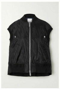Sacai - Ribbed Jersey And Grosgrain-trimmed Shell Vest - Black