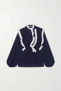 Chloé - Ruffled Silk Crepe De Chine Blouse - Navy
