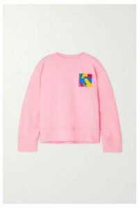 Moschino - Appliquéd Cotton-jersey Sweatshirt - Pastel pink
