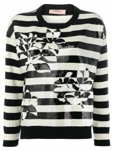 Twin-Set striped sequin jumper - Black